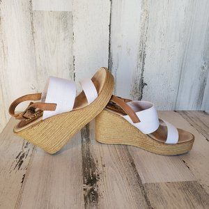 COPY - SBICCA White Wedge Slingback Sandals